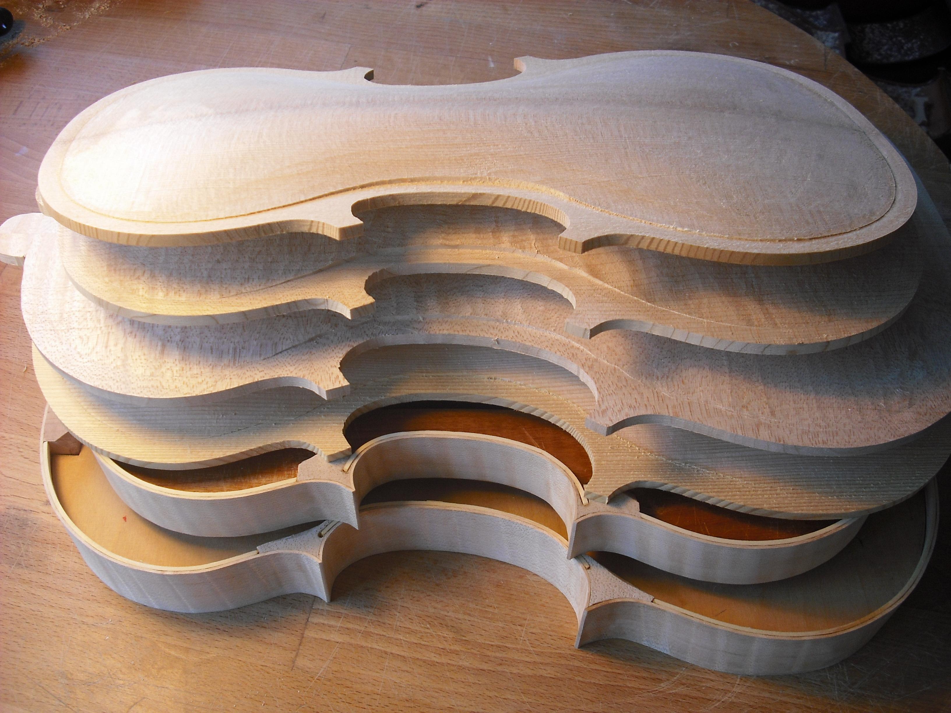 violin and viola ribs and plates